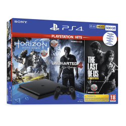 KONSOLA PS4 500GB F + Horizon Zero Dawn + Uncharted: Zaginione Dziedzictwo + The Last of Us Remastered